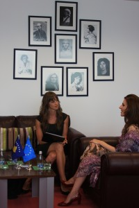 Citaku's office wall of strong Albanian women
