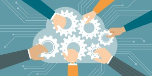 Business people joining gears in a cloud, web and cloud computing concept