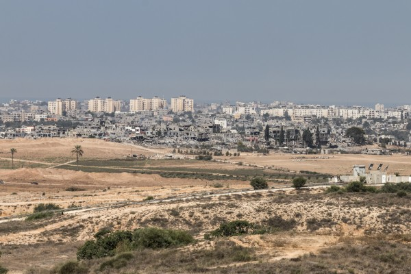 A view into Gaza City, Palestine, showing destruction of structures and buildings following a summer-long battle between militants and Israeli forces