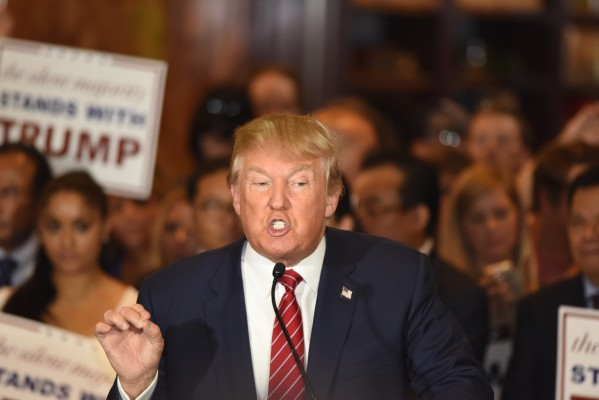 New York City - NY - USA - September 3 2015: Republican presidential candidate Donald Trump gestures emphatically during press conference at Trump Tower to announce he has signed a pledge not to run as an independent candidate