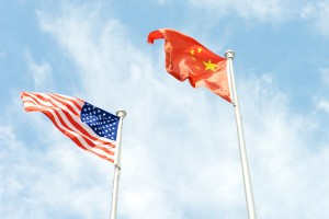 Superpower USA America and China flags next to each other