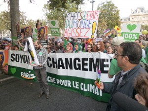 Paris, France - September 21, 2014: The People Climate March is a street march organized in many countries as a world wide event to protest against  the climate change