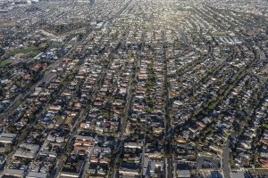 Afternoon aerial view of residential areas in the south bay area of Los Angeles County, California.